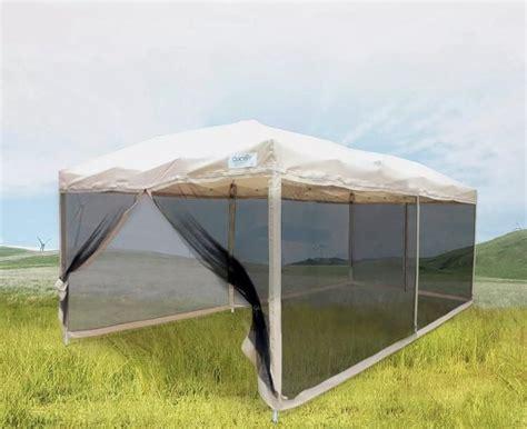 tan tent  mesh walls tent gazebo screen house