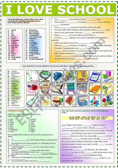 worksheet  practise vocabulary related  school