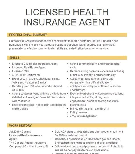 Register to become a discount health care program operator and contract with providers, provider networks and other health care services. Licensed Health Agent Resume Example Colibrium Direct - Snellville, Georgia
