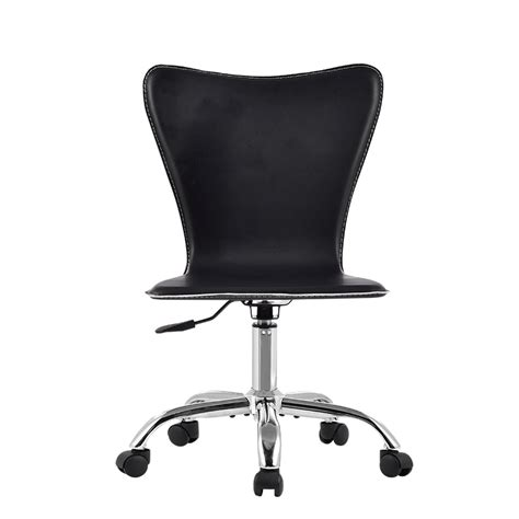 ergonomic mid back armless leather office swivel executive