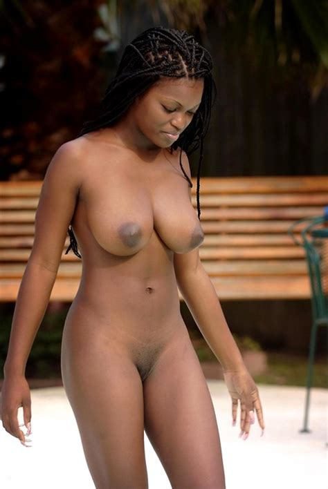 Naked Busty Black Girl Goes Skinny Dipping And Tits Are