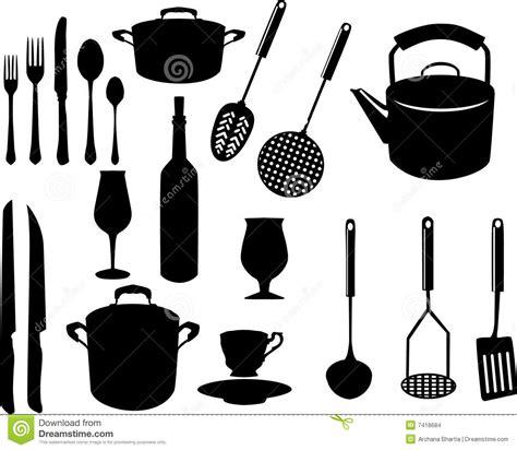 ustensiles de cuisine anciens ustensiles divers de cuisine illustration de vecteur