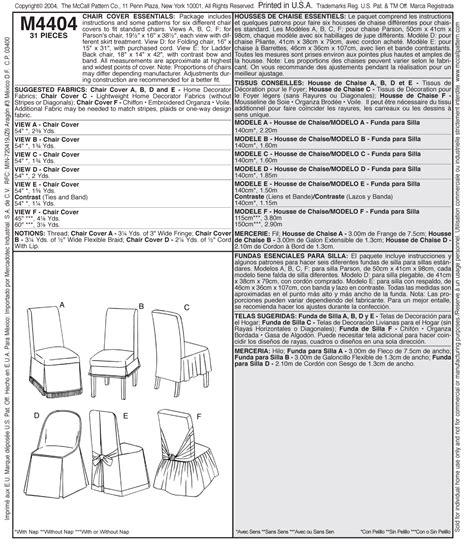 patron housse de chaise burda m4404 housses de chaise indispensables grandeur une seule taille fabricville