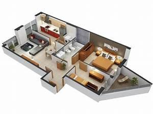 50 plans 3d d39appartement avec 2 chambres With charming plan maison 3d gratuit 14 maison 2 appartements top maison