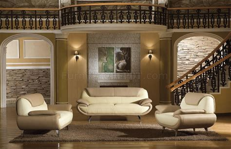 Light Brown & Beige Two-tone Leather 3pc Living Room Set 2812
