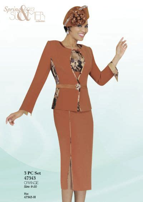 ben marc  womens orange church suit french novelty