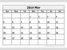May 2019 Calendar Template calendar month printable
