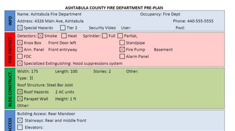 fire department pre plan form  word firehouse