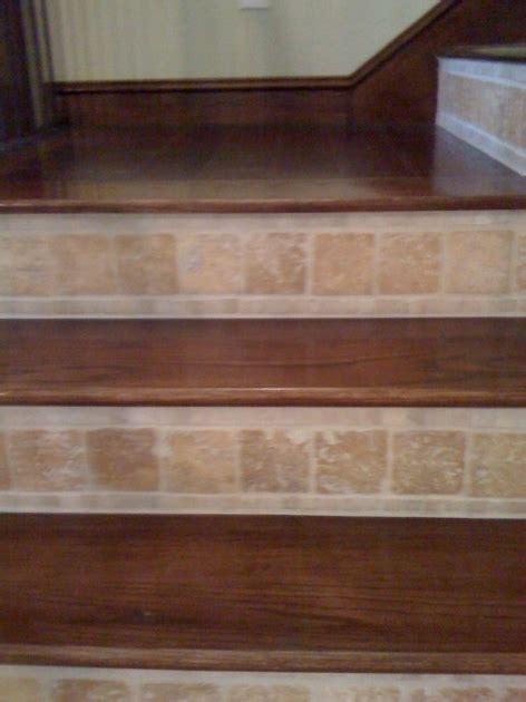 Tile Stair Nosing Wood by Wood Stair Treads With Tile Risers Stairs Design Ideas