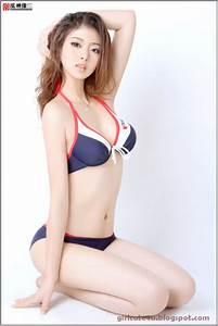 Cute asian girl moaing
