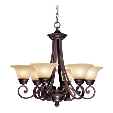 six light chandelier with bell shaped glass shades 1080