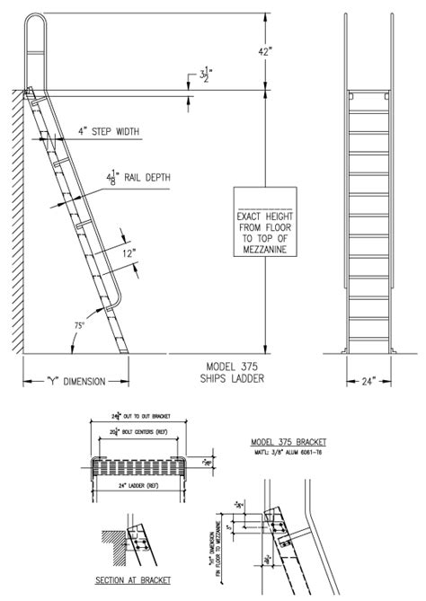 wall mounted handrail height m75 75 ships ladder alaco ladder