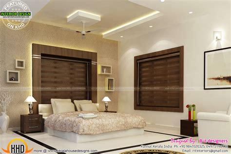 bifurcated stair bedroom kitchen interiors kerala home