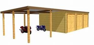 garage bois en kit kit garage bois de m avec espace With plan maison avec jardin interieur 6 plan garage ossature bois pour un garage deux places