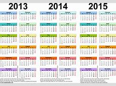Three year calendars for 2013, 2014 & 2015 UK for PDF