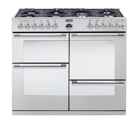 stoves dual fuel range cooker buy stoves sterling r1100dft dual fuel range cooker stainless steel free delivery currys