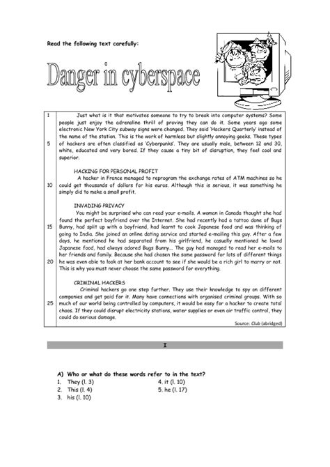 Danger in Cyberspace Reading Worksheet