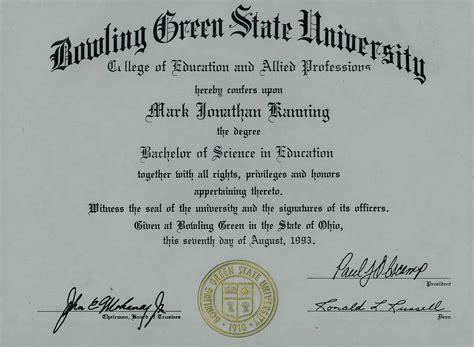 bachelors degree  bowling green state university