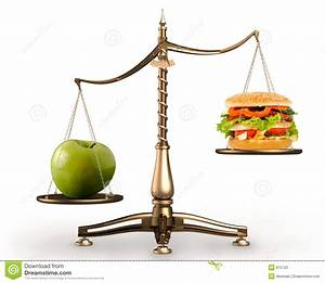 Apple And Hamburger On Scales Conceptual Stock Image ...