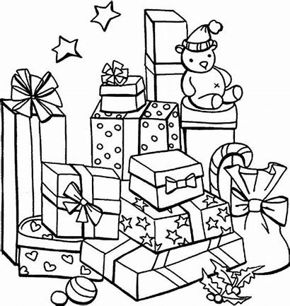 Coloring Presents Christmas Pages Present Mountain Drawing