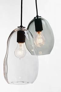 Hand blown bubble glass pendant light