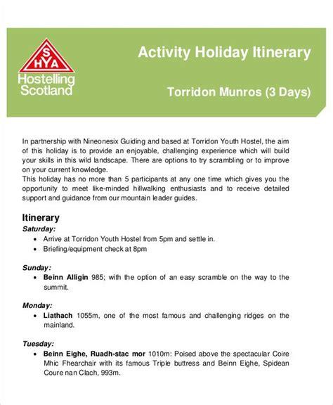 holiday itinerary templates  sample