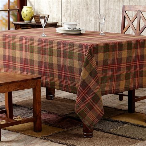 pink kitchen tablecloth kendrick green gold plaid burlap cotton country