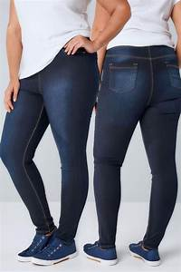 Indigo Blue Pull On Stretch Jeggings Plus Size 14 To 36