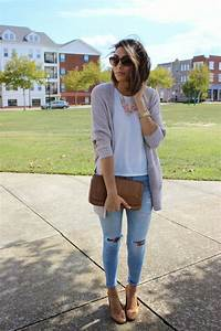 Womenu0026#39;s Grey Open Cardigan White Crew-neck T-shirt Light Blue Ripped Skinny Jeans Brown ...