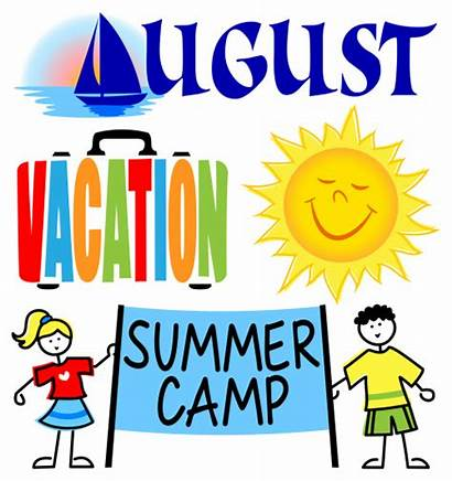 August Clip Events Month Camp Cartoon Vacation