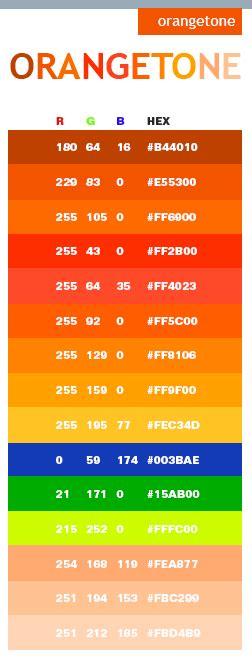 orange color code orange tone web colors color