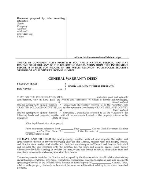 texas property deed form texas general warranty deed form legal forms and