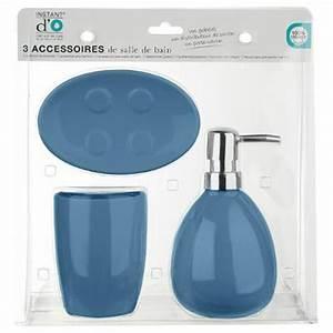 Accessoire Salle De Bain Bleu : set de 3 accessoires salle de bain sun bleu marine ~ Teatrodelosmanantiales.com Idées de Décoration