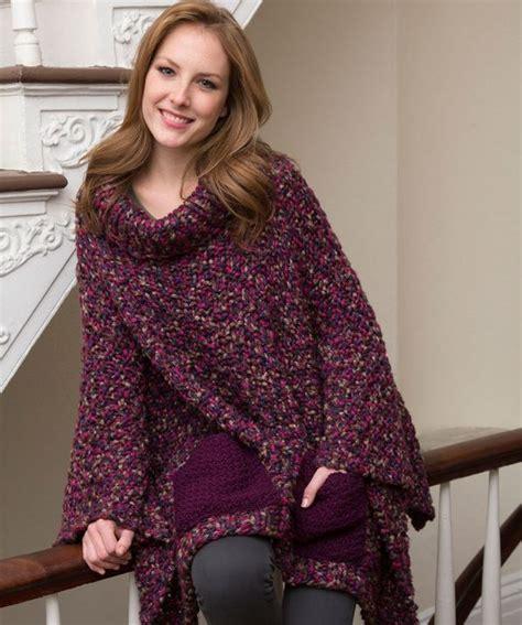 cozy pocketed knit poncho allfreeknitting
