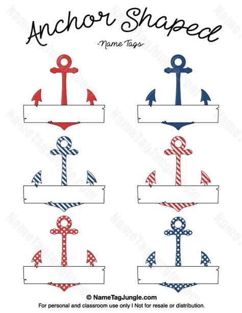 Boat Tags by Printable Anchor Shaped Name Tags