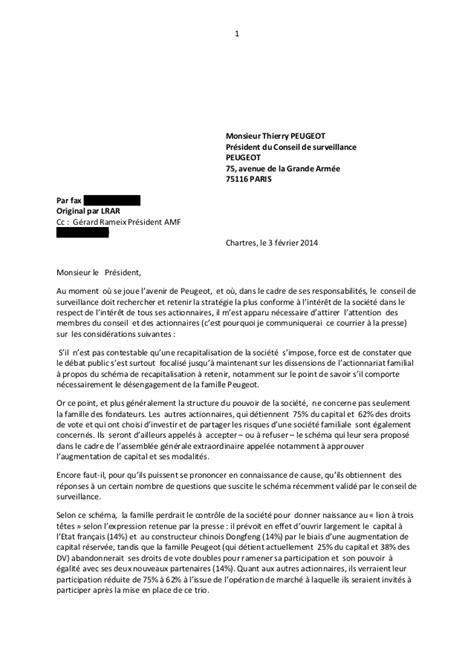 Lettre Du 3 Février Au Conseil De Surveillance De Peugeot