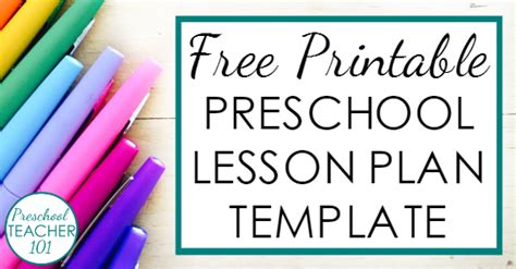 preschool lesson plan template for weekly planning 799 | Free printable preschool lesson plan template
