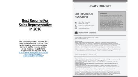 Best Resume Sles by Best Resume For Sales Representative In 2016