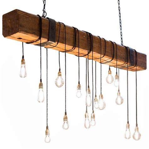lampara de techo viga madera hierro negro forja diseno