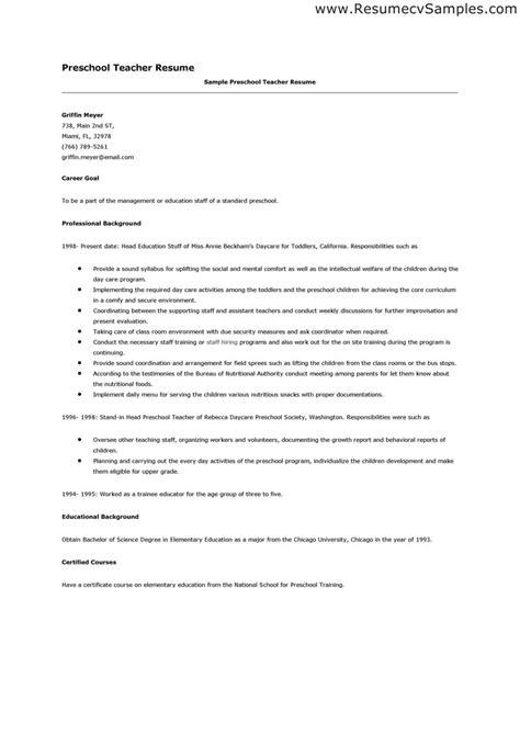preschool resume resume format