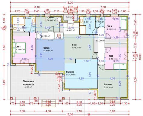 plan maison 3 chambres 1 bureau amazing plan maison plain pied chambres bureau plan maison