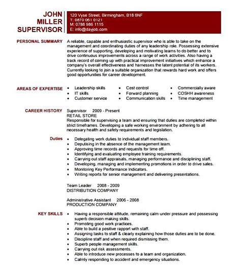 Supervisor Resume Template by Supervisor Resume Template Free Sles Exles