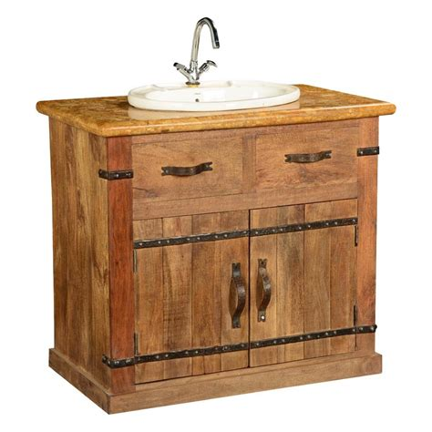 Country Vanity by Country Farmhouse Mango Wood Marble Bathroom Vanity Cabinet