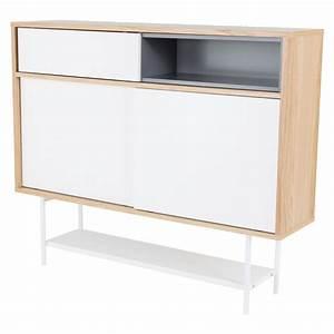 Meuble Entree Blanc : meuble d 39 entr e plaqu ch ne naturel et blanc laqu ~ Teatrodelosmanantiales.com Idées de Décoration
