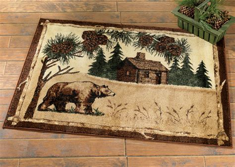 Wildlife Rugs: 5 x 7 Bear & Cabin Rug Black Forest Decor