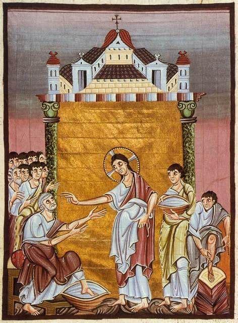 christ washing  feet  st peter aachen gospels