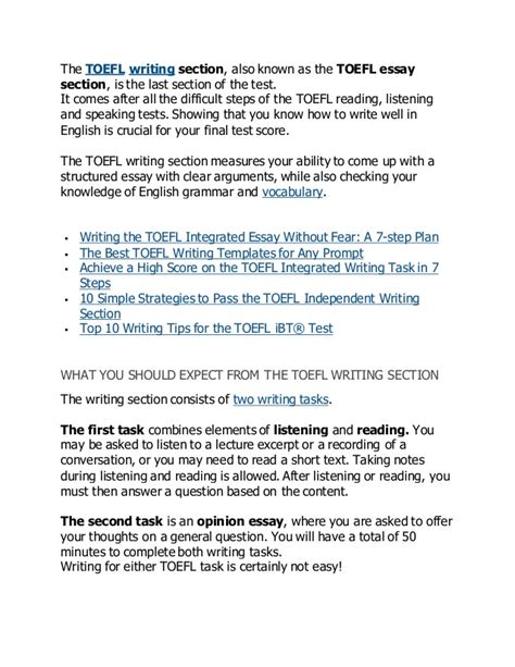 toefl writing template independent how to master the toefl independent and integrated writing tasks