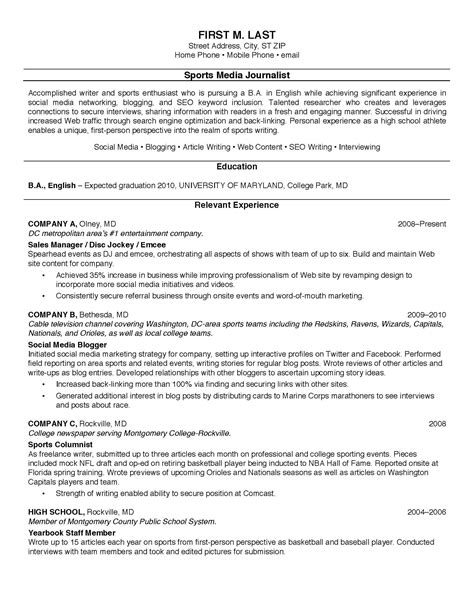 resume examples  college students  resume