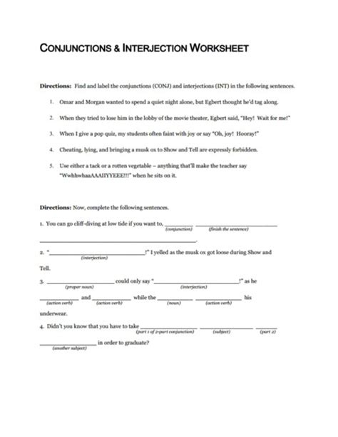 Conjunctions And Interjection Worksheet Worksheet For 5th  10th Grade  Lesson Planet