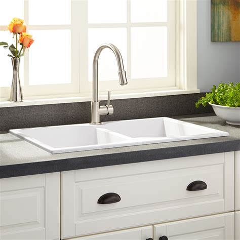 signature hardware kitchen sinks 32 quot rossini double bowl drop in granite composite sink